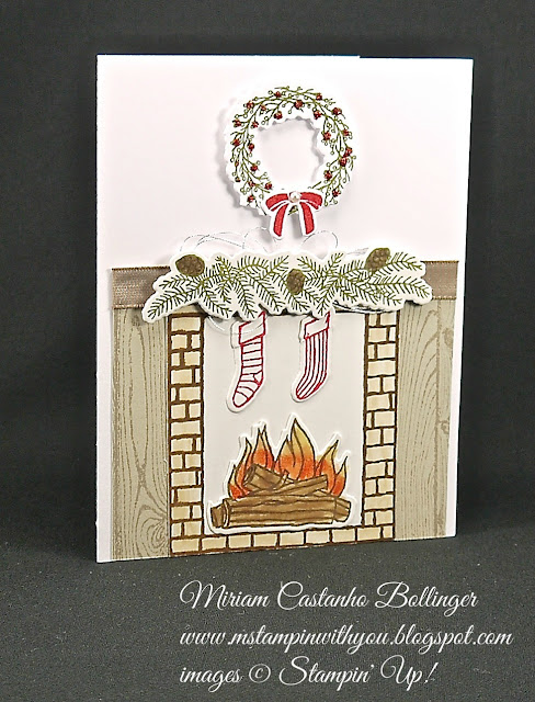 Miriam Castanho-Bollinger, #mstampinwithyou, stampin up, demonstrator, dsc, christmas card, festive fireplace stamp set, festive fireplace framelits, big shot, silver thread, su