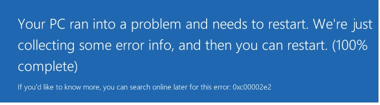 Windows Server 2012 CRASH – ERROR 0XC00002E2