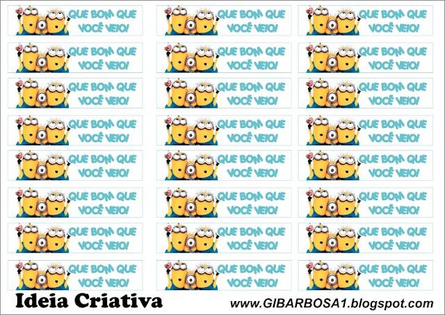 Rótulo para Mini Garrafinhas Meu Malvado Favorito para imprimir grátis