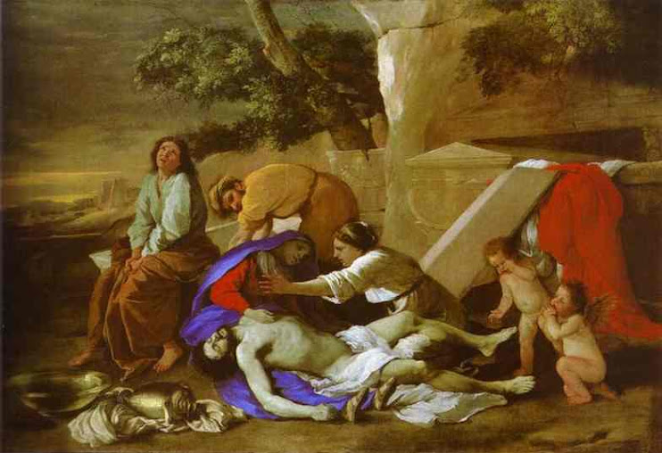 N. Poussin, Lamentation over the body of Jesus Christ, with two little angels