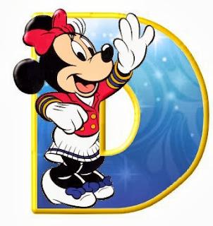 Alfabeto de personajes Disney con letras grandes D Minnie.