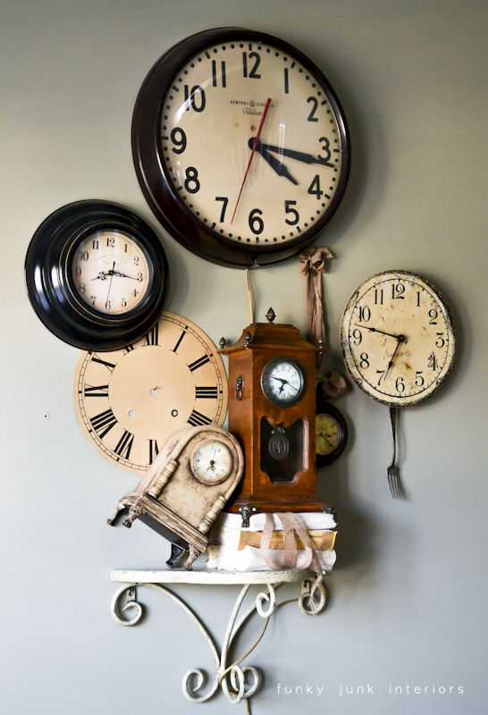 A junk tour of Bella Rustica Linda's house via Funky Junk Interiors - gorgeous clock wall