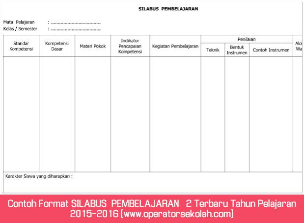 Contoh Format SILABUS  PEMBELAJARAN   2 Terbaru Tahun Pelajaran 2015-2016 [www.operatorsekolah.com]