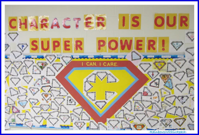 """Character is our Super Power"" Bulletin Board via RainbowsWithinReach"