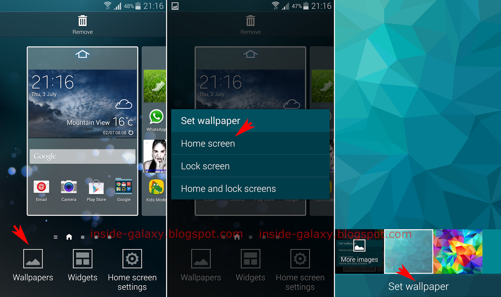 Samsung galaxy s5 how to change wallpaper in android 4 4 for Change background wallpaper your home screen