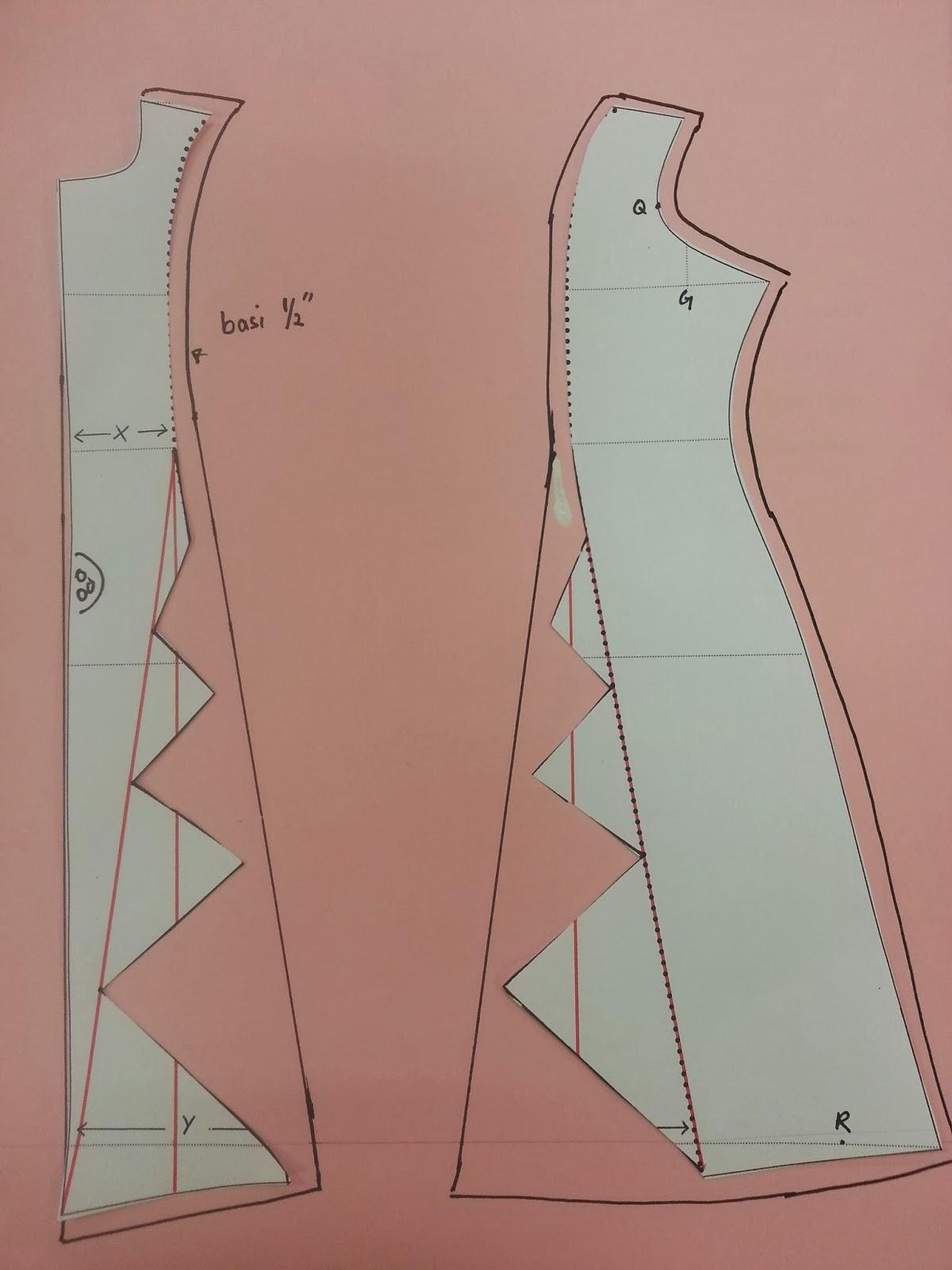 gunting pola ikut garisan zig zag tu, letak pola atas kain.