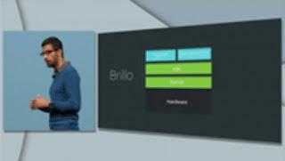 ο επικεφαλής των προϊόντων της Google Sundar Pichai παρουσιάζει το Brillo, ένα λειτουργικό σύστημα για το έξυπνο σπίτι και το Διαδίκτυο των πραγμάτων
