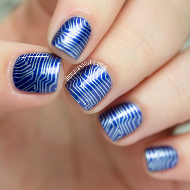 31DC2015: Blue Nails with Sci-Fi Stamping