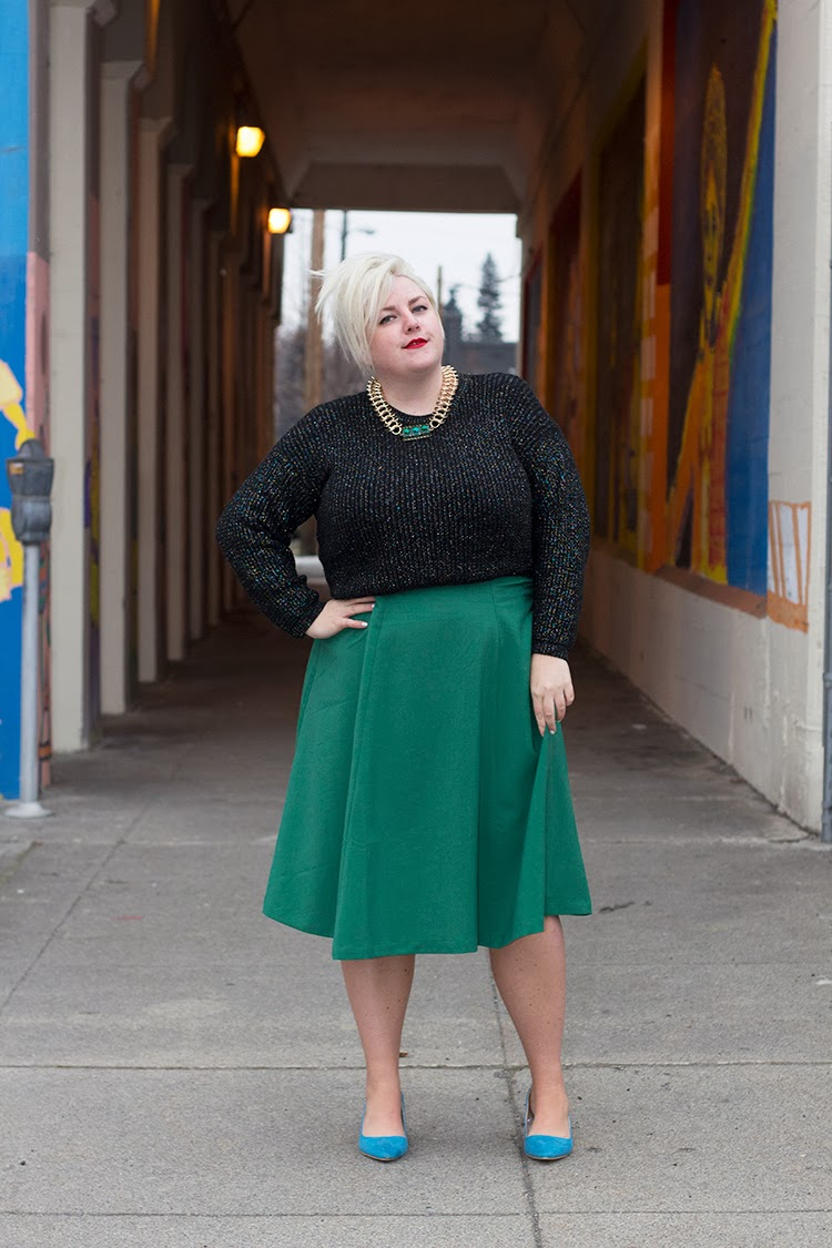Margie Plus : The Plus SIze Winter Midi Skirt