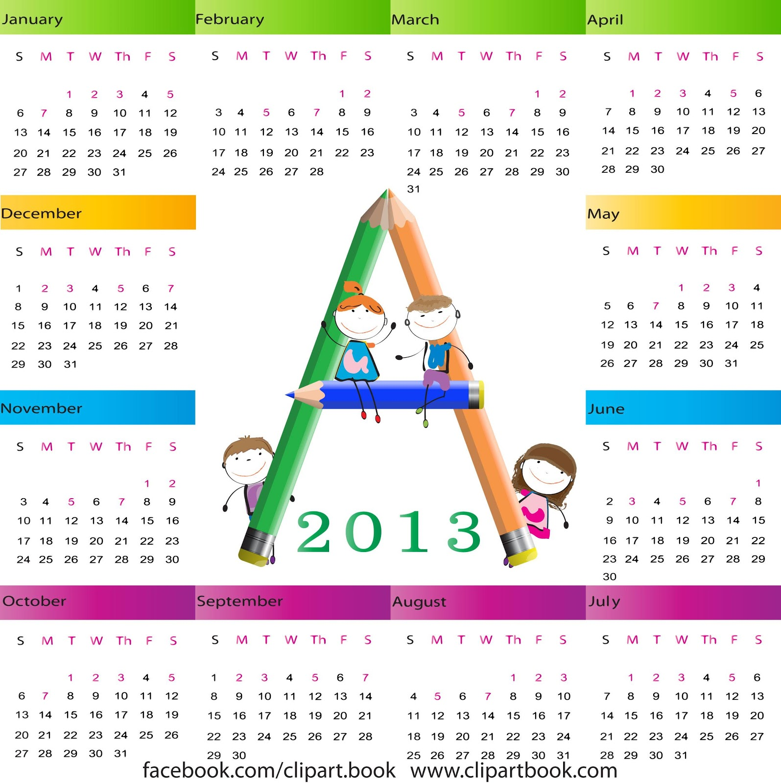 Kids Calendar Design : Calendar for school kids vectors free clipart book