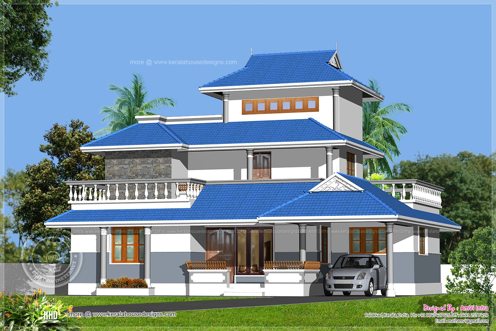 Kerala model home design in 1329 sq feet kerala home for Model house photos in indian