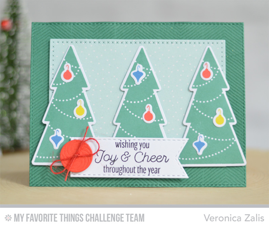 Joy & Cheer Card by Veronica Zalis featuring the Lisa Johnson Designs Trim the Tree stamp set and Die-namics #mftstamps