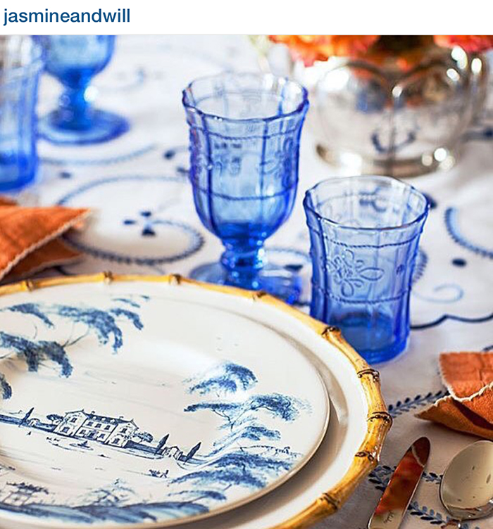 Incredible entertaining inspiration from Jasmine and Will's beautiful blue and white table design.