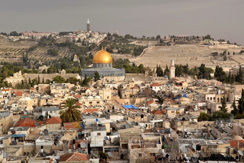 view of old town and Mount of Olives in Jerusalem