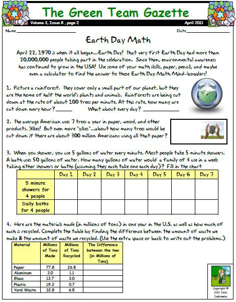 earth day math printable with