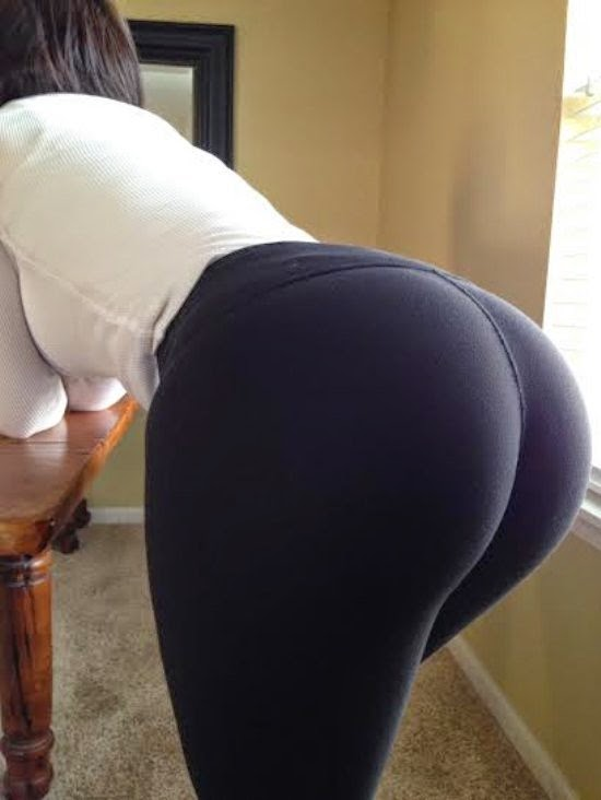 Girls in yoga pants bent over ass idea