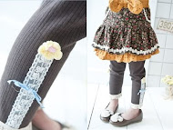 [G029]Lace Hem Legging w/ Lil Flower