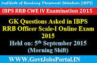 GK Questions Asked in IBPS RRB Officer Scale-I Online Exam 2015 Held on: 5th September 2015(Morning Shift)