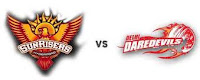 Indian Premier League, 48th match Sunrisers Hyderabad vs Delhi Daredevils.