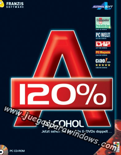 Alcohol 120% v2.0.3.8314 ESPAÑOL PC Full Cover Caratula