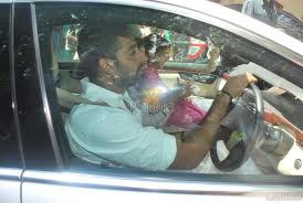 Aishwarya rai with her husband in the car