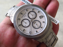 TISSOT CHRONOGRAPH WHITE BIG DIAL BIG CASE - TITANIUM CASE AND BRACELET