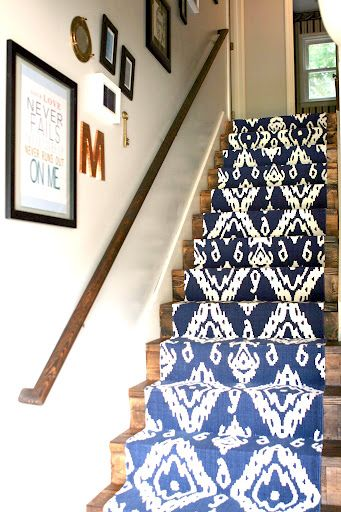 What I'm Loving Right Now: Ikat. Incorporate this trend into your home with a blue Ikat stair runner!!