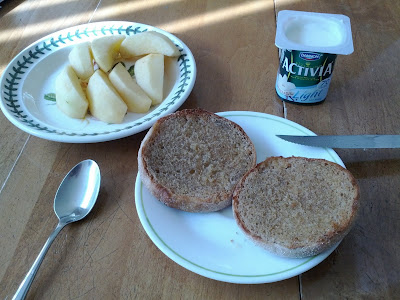 Whole wheat English muffins and Activia yogurt with apple slices