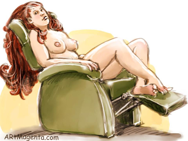 Mandy sitting in the Recliner is a life drawing by artist and illustrator Artmagenta