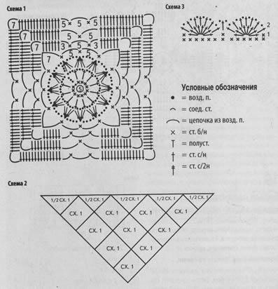 Вязание квадратов для шали крючком 518