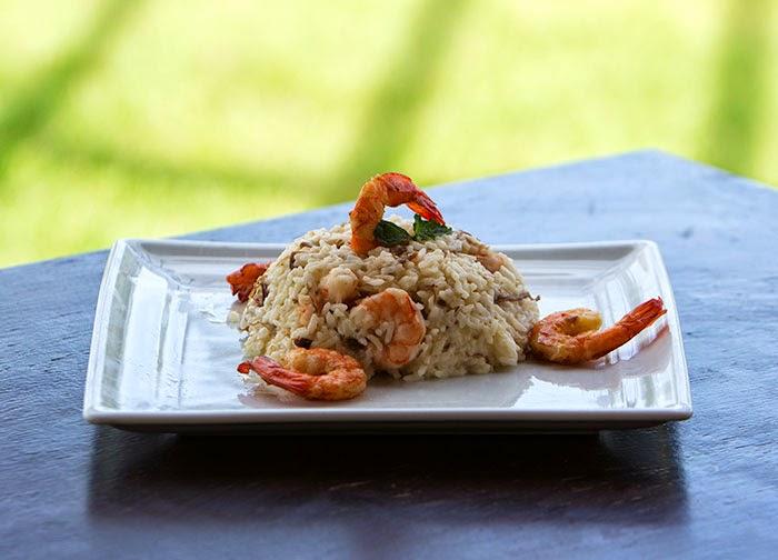 Risoto Sertanejo com camarão e carne de sol