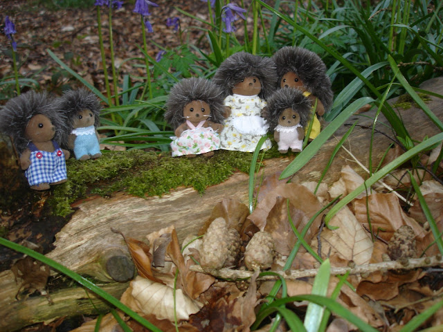 Sylvanian Families Bramble Hedgehog Family in the Bluebell woods