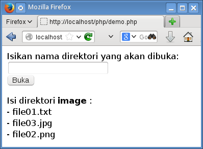 menampilkan isi direktori dengan php