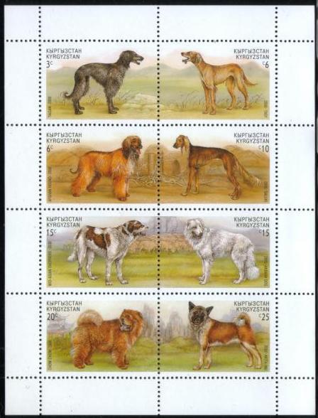 2000年キルギスタン共和国 タイガン タズィー アフガン・ハウンド サルーキ ミッド・アジアン・シェパード アキバッシュ・ドッグ チャウ・チャウ 秋田犬の切手シート