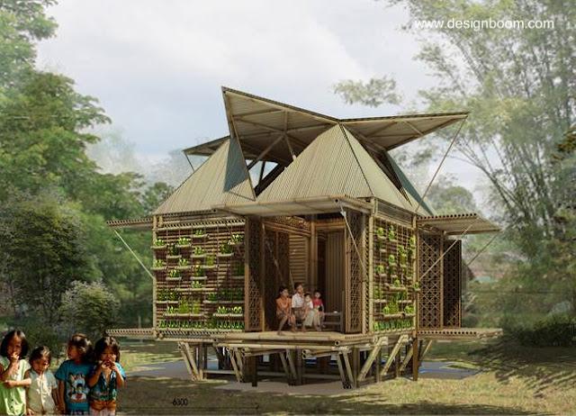 Casa de bajo costo construida con bambú para Vietnam