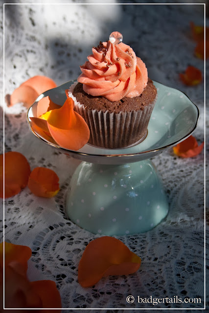 chocolate cupcakes with orange blossom frosting food photography