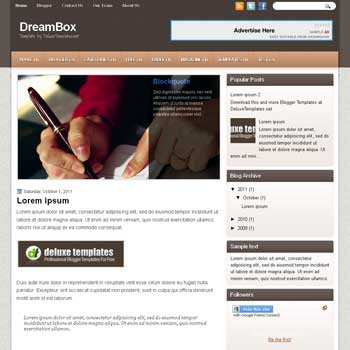 DreamBox blogger template. template blogspot magazine style