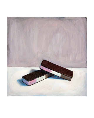 ice cream sandwich painting, junk food art, still life