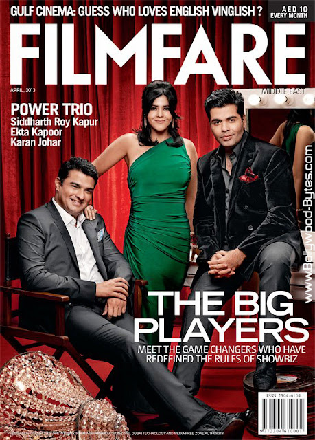 Siddharth Roy Kapur, Ekta Kapoor, Karan Johar on Cover Filmfare April 