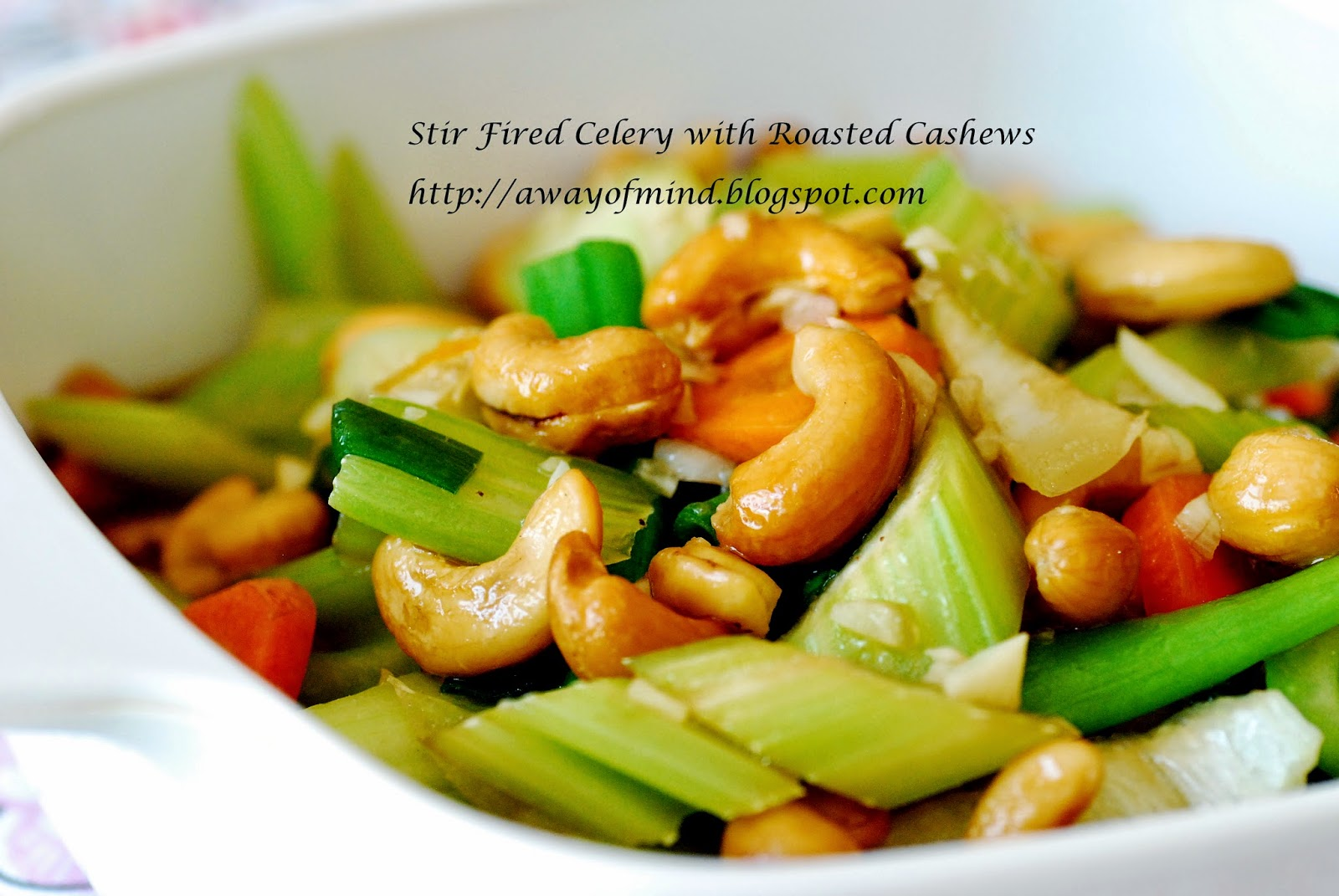 Awayofmind Bakery House: Stir Fried Celery with Roasted Cashews