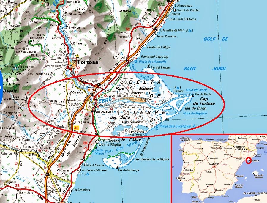 Delta Del Ebro Mapa Delta Del Ebro