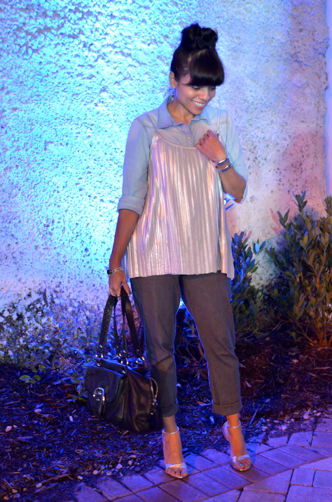 Metallic top outfit