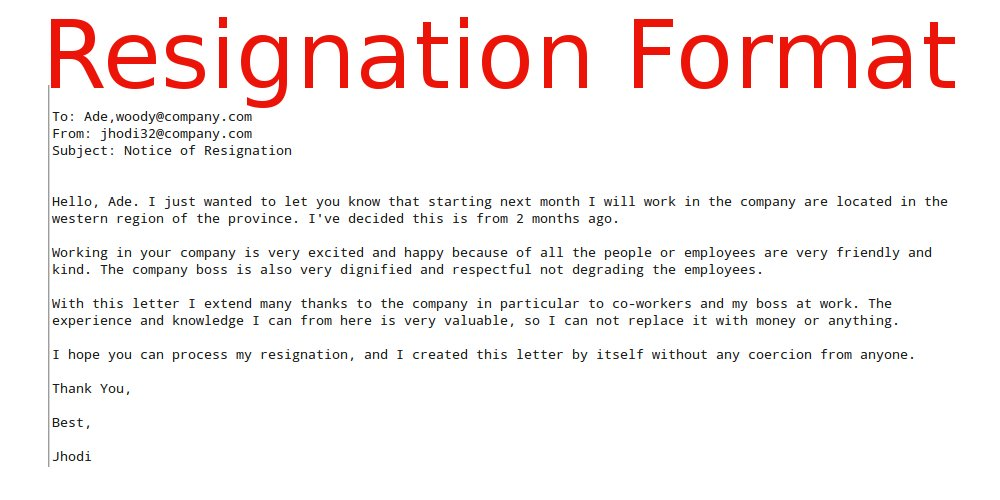 Letter of resignation email format