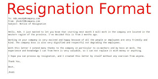 resignation email format samples business letters