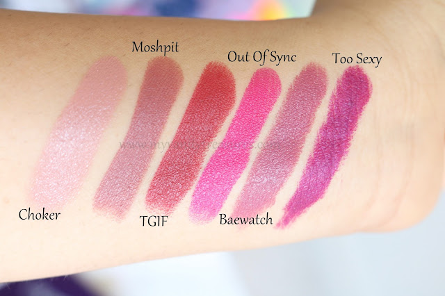Colourpop back to cool swatches