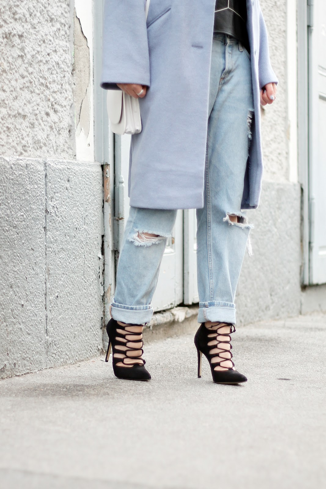 boyfriend jeans and lace up heels