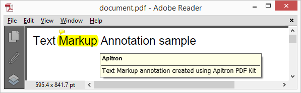 Pic. 3 Text Markup annotation added to PDF page