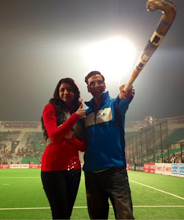 Akshay and Kajal Agarwal Spotted at Hockey India League