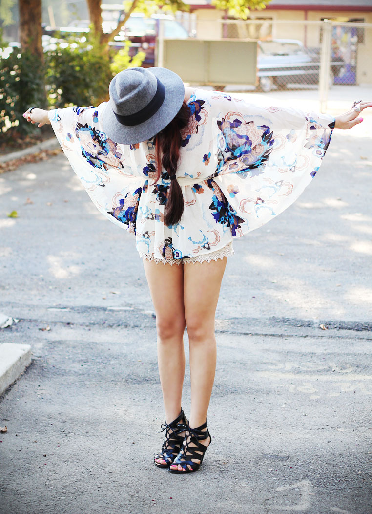 floral top & crochet shorts