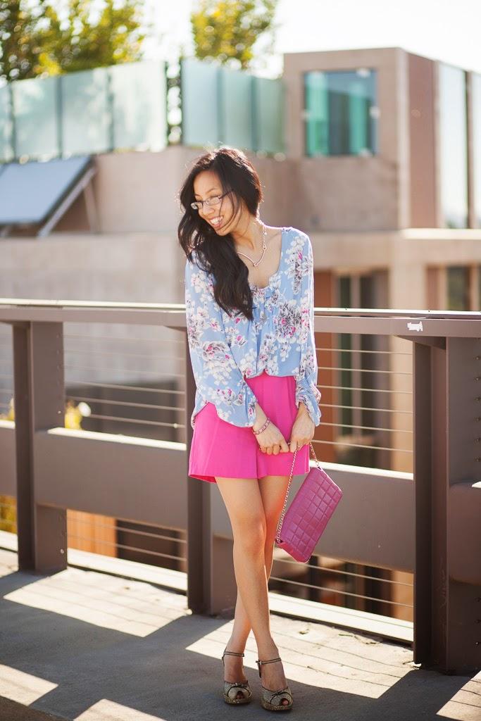 colorblock blue floral print fuchsia vintage shorts